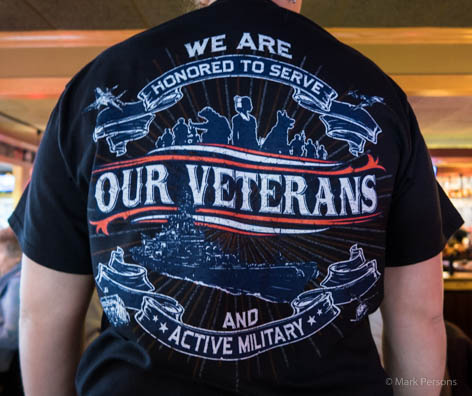 The waitress was wearing a Veterans Day shirt. Nicely done. 381ab2f01